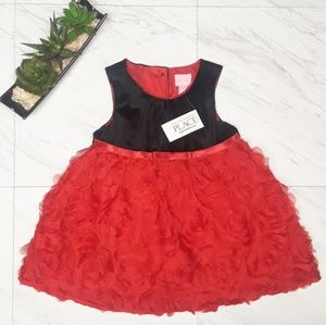 Children's Place Black and Red Rose Dress NWT